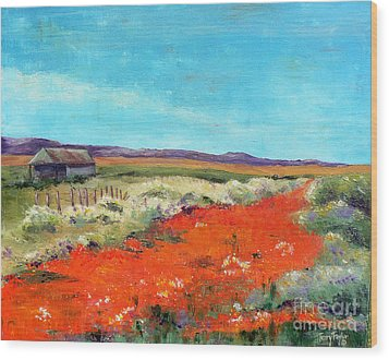 Poppies In The Meadow Wood Print
