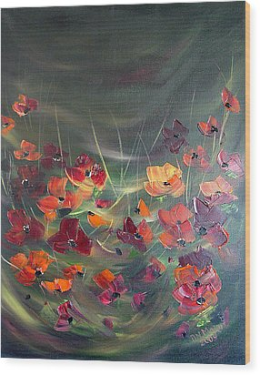 Wood Print featuring the painting Poppies In The Shadow by Dorothy Maier