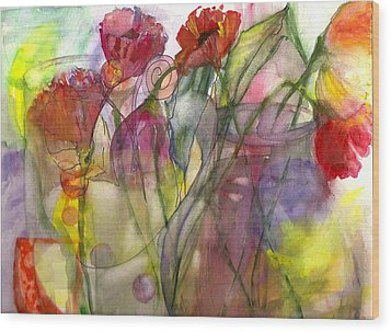 Poppies In The Sun Wood Print by Claudia Smaletz