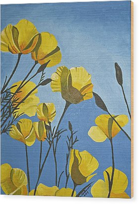 Poppies In The Sun Wood Print by Donna Blossom
