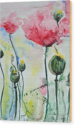 Wood Print featuring the painting Poppies by Ismeta Gruenwald