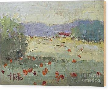 Poppies Wood Print by Joyce Hicks