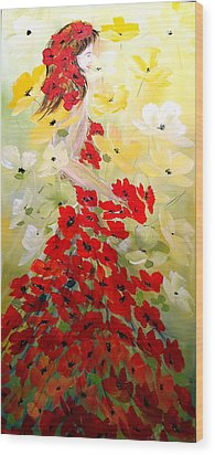 Wood Print featuring the painting Poppies Lady by Dorothy Maier