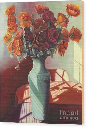 Wood Print featuring the painting Poppies by Marlene Book