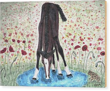 Wood Print featuring the painting Poppies N  Puddles by Angela Davies