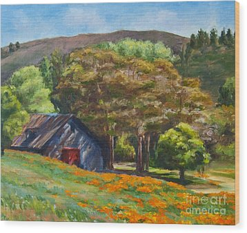 Poppies Near The Barn Wood Print by Laura Sapko