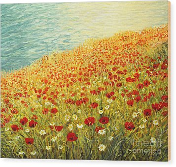 Poppies Of Kaliakra II Wood Print by Kiril Stanchev