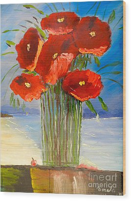 Wood Print featuring the painting Poppies On The Window Ledge by Pamela  Meredith