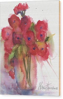 Poppies Wood Print by Sherry Harradence