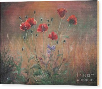 Wood Print featuring the painting Poppies by Sorin Apostolescu