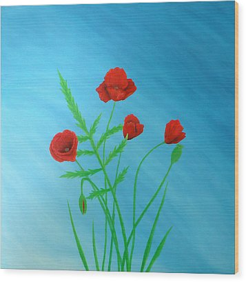 Poppies Wood Print by Sven Fischer