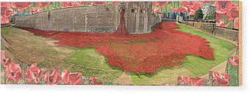 Poppies Tower Of London Collage Wood Print