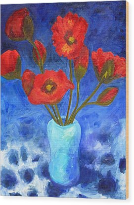 Poppies Wood Print by Valerie Lynch