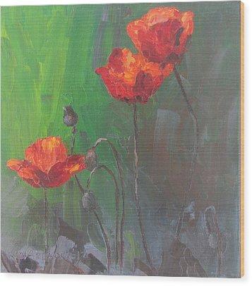 Poppies3 Wood Print by Susan Richardson