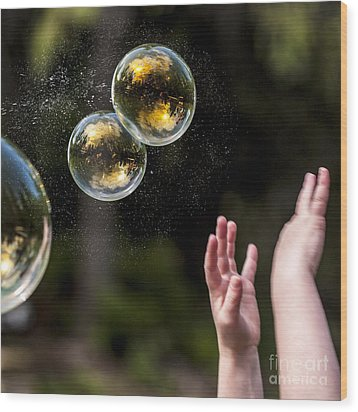 Poppin Bubbles Wood Print by Darcy Michaelchuk