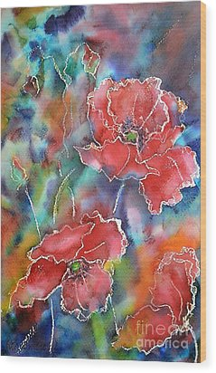 Poppy Abstract Wood Print