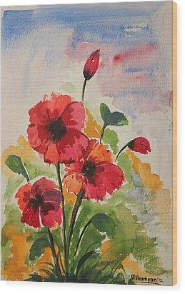 Poppy Blossom 2 Wood Print by Shakhenabat Kasana