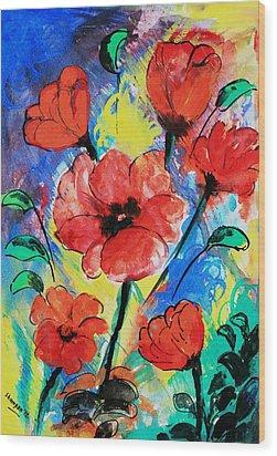 Poppy Blossom Wood Print by Shakhenabat Kasana