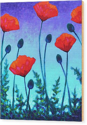 Poppy Corner Wood Print by John  Nolan
