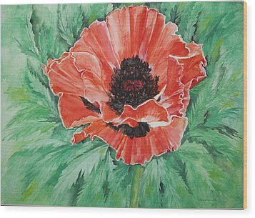 Wood Print featuring the painting Poppy by Ellen Canfield