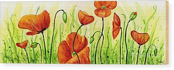 Poppy Field Wood Print by Annie Troe