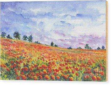 Poppy Field Wood Print