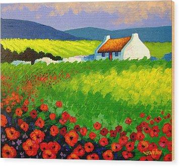 Poppy Field - Ireland Wood Print by John  Nolan