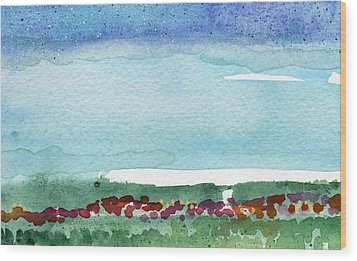 Poppy Field- Landscape Painting Wood Print by Linda Woods