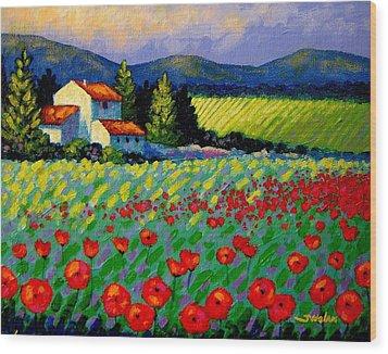 Poppy Field - Provence Wood Print by John  Nolan