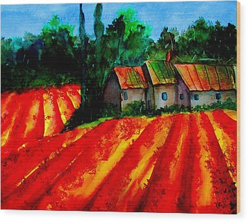 Poppy Field  Sold Wood Print by Lil Taylor