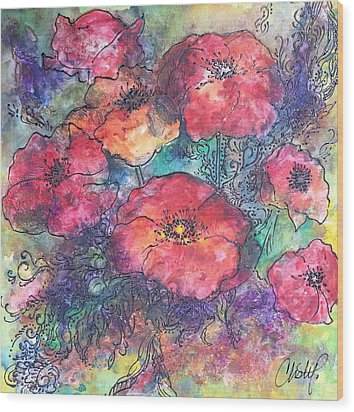 Wood Print featuring the painting Poppy Flower Splash Of Spring by Christy  Freeman