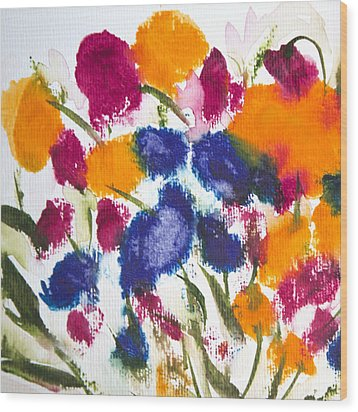 Wood Print featuring the painting Poppy Garden by Linde Townsend