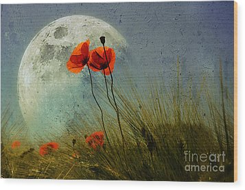 Poppy In The Moon Wood Print by manhART