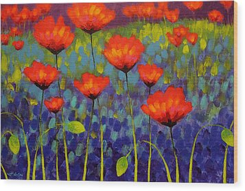 Poppy Meadow   Cropped 2 Wood Print by John  Nolan