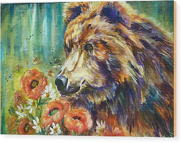 Poppy Mountain Bear Wood Print by P Maure Bausch