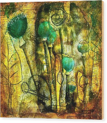 Poppy Pods Wood Print