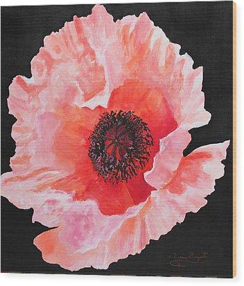 Poppy Power Wood Print by M Diane Bonaparte