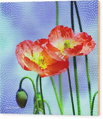 Poppy Series - Garden Views Wood Print by Moon Stumpp