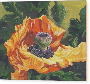 Wood Print featuring the painting Poppy With Yellow by Alfred Ng
