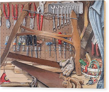 Wood Print featuring the painting Pop's Work Bench by Bob  George
