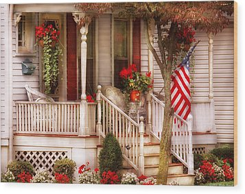 Porch - Americana Wood Print by Mike Savad