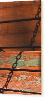 Wood Print featuring the photograph Porch Chain Reflections by Haren Images- Kriss Haren
