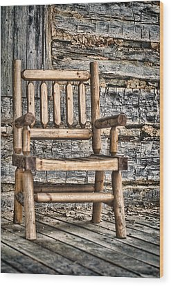 Porch Chair Wood Print by Heather Applegate