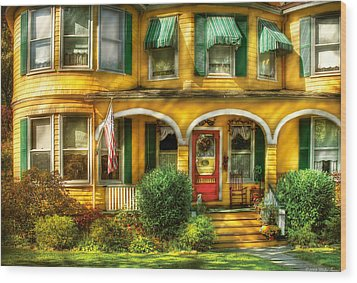 Porch - Cranford Nj - A Yellow Classic  Wood Print by Mike Savad