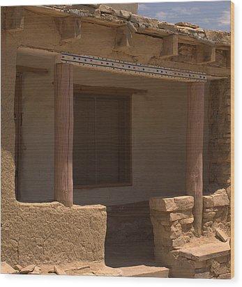 Porch Of Pueblo Home Wood Print