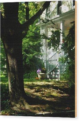 Porch With Pot Of Chrysanthemums Wood Print by Susan Savad