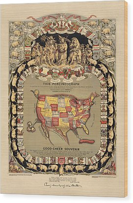 Pork Map Of The United States From 1876 Wood Print by Blue Monocle