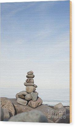 Porlock Weir Stone Stack Wood Print by Anne Gilbert