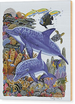 Porpoise Reef Wood Print by Carey Chen