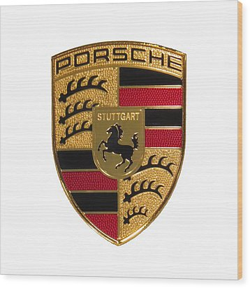 Porsche - Emblem White Wood Print by Scott Cameron
